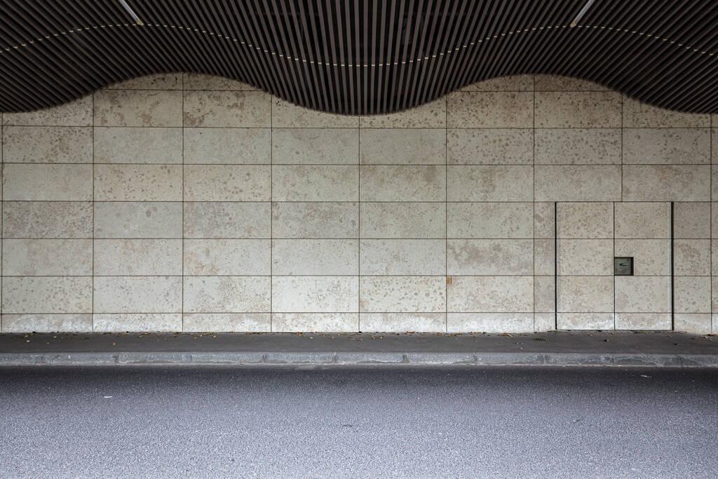 Pan de mur composé de dalles de marbres et comprenant une porte...